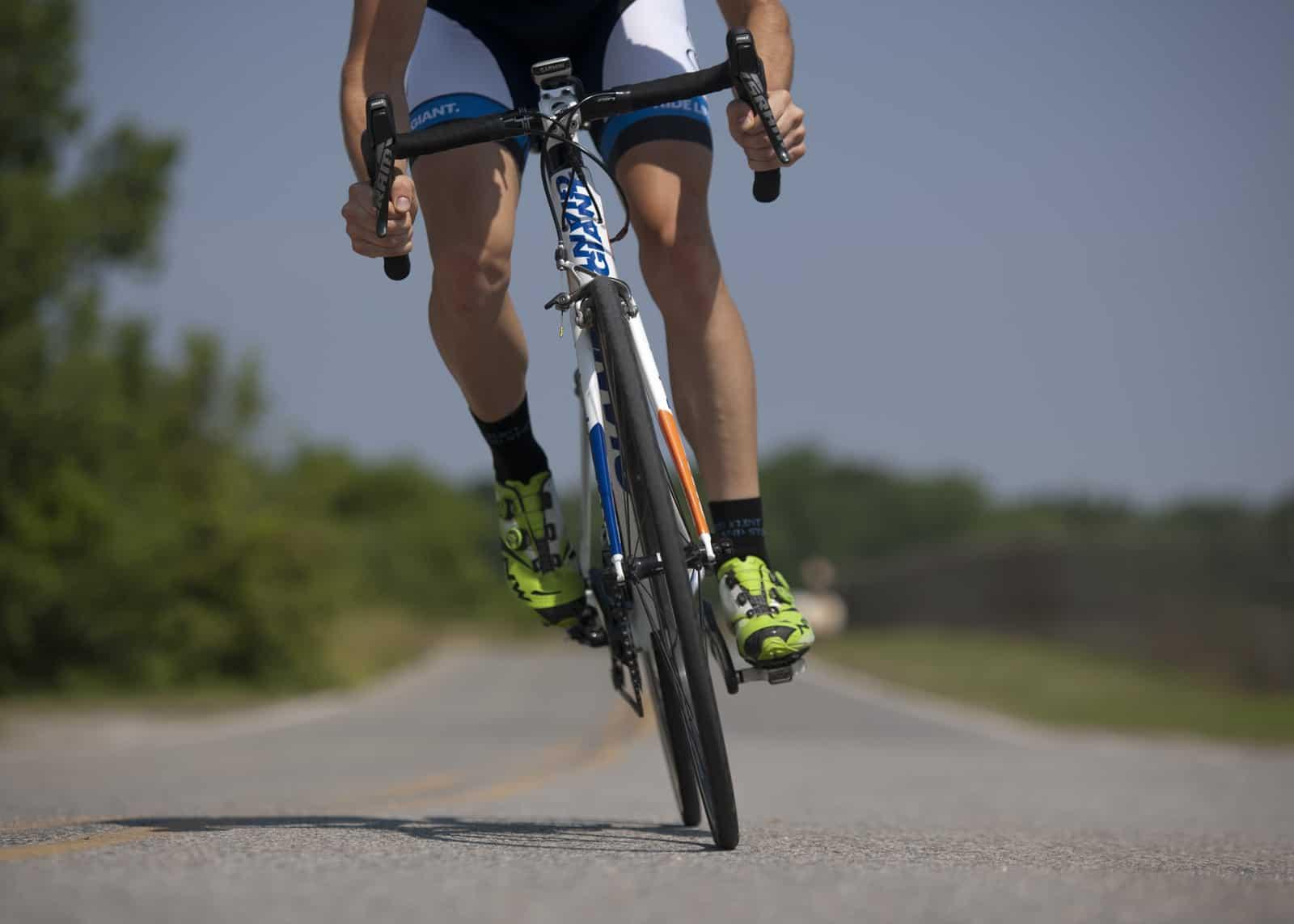 wearing cycling shoes