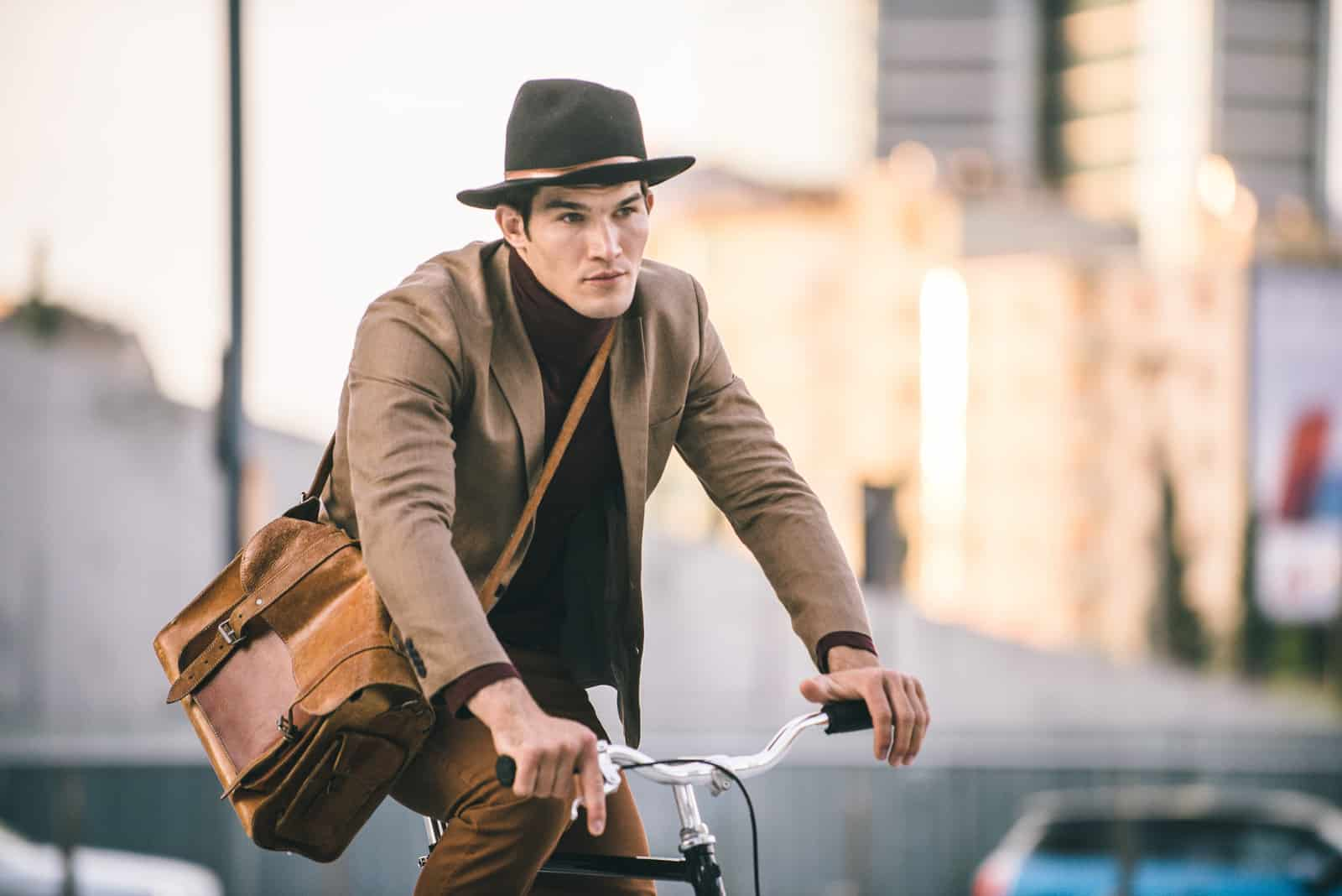 handsome guy with bike messenger bags