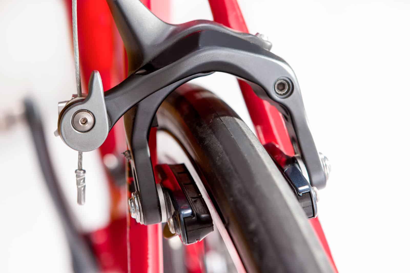 adjusting road bike brakes on the road
