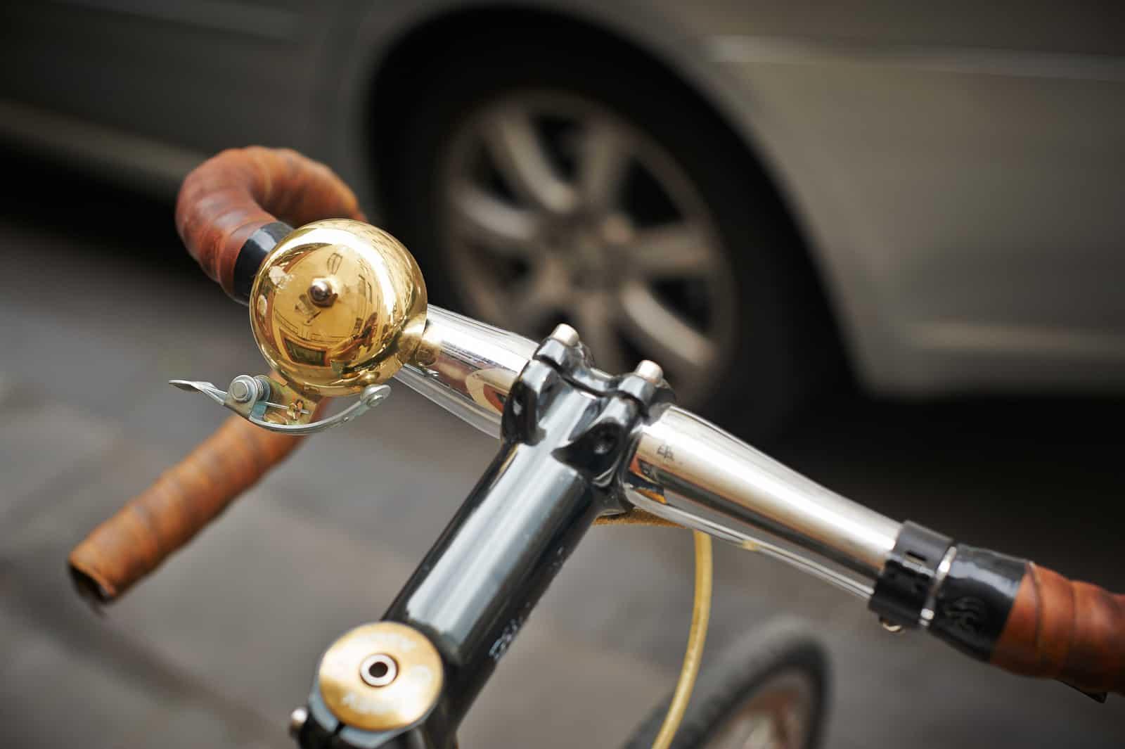 gold bike bell installed