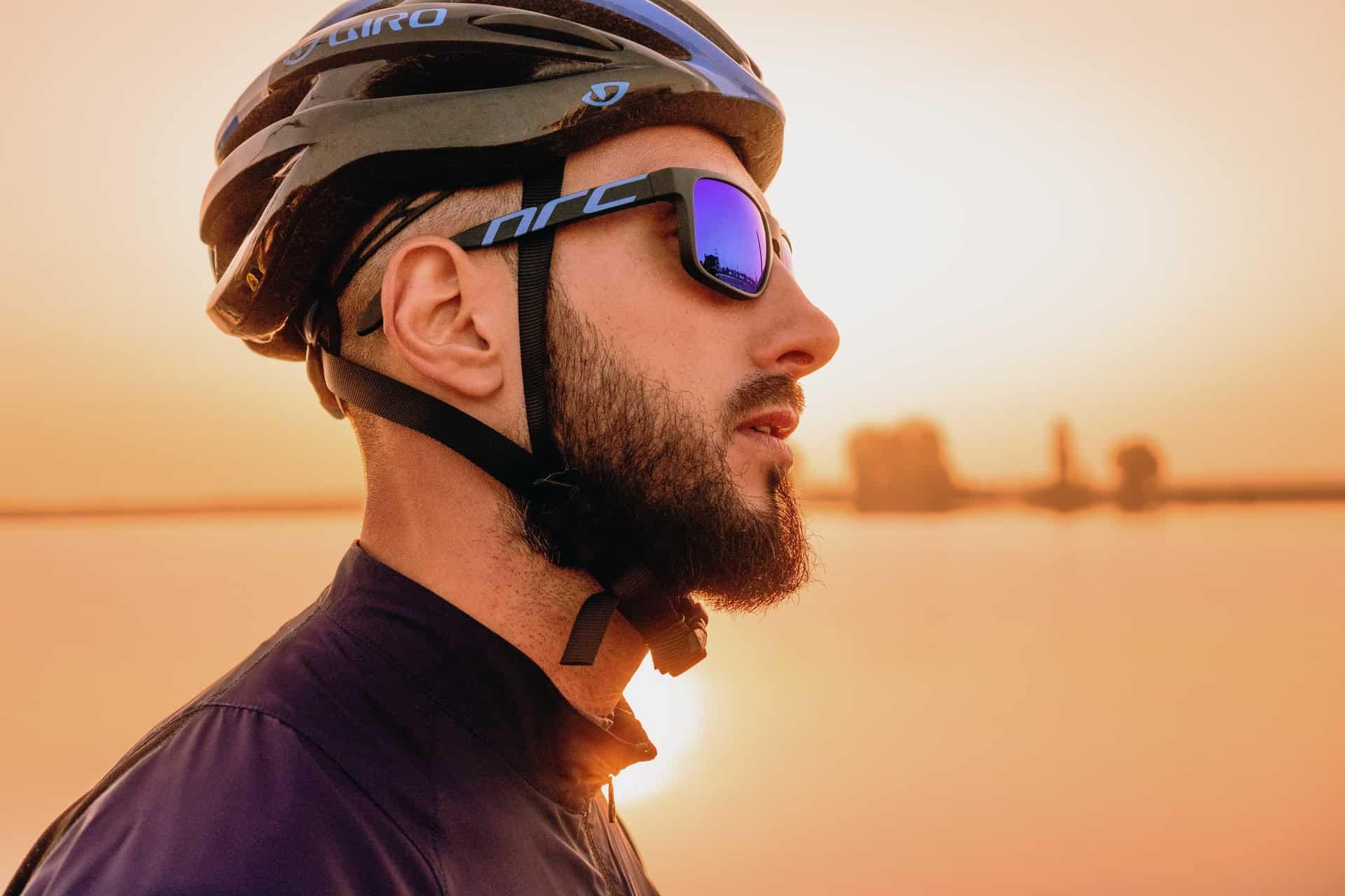 man wearing cycling sunglasses