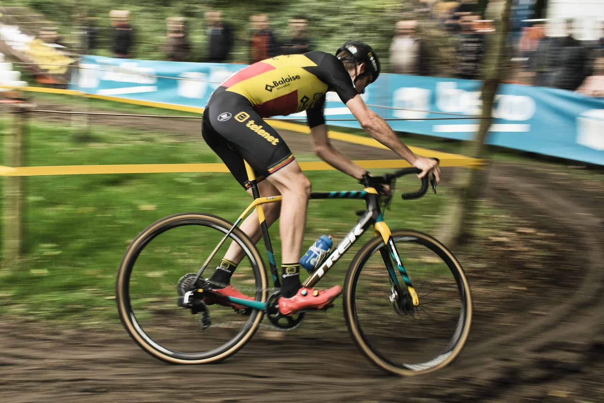 cyclist riding cyclocross bikes