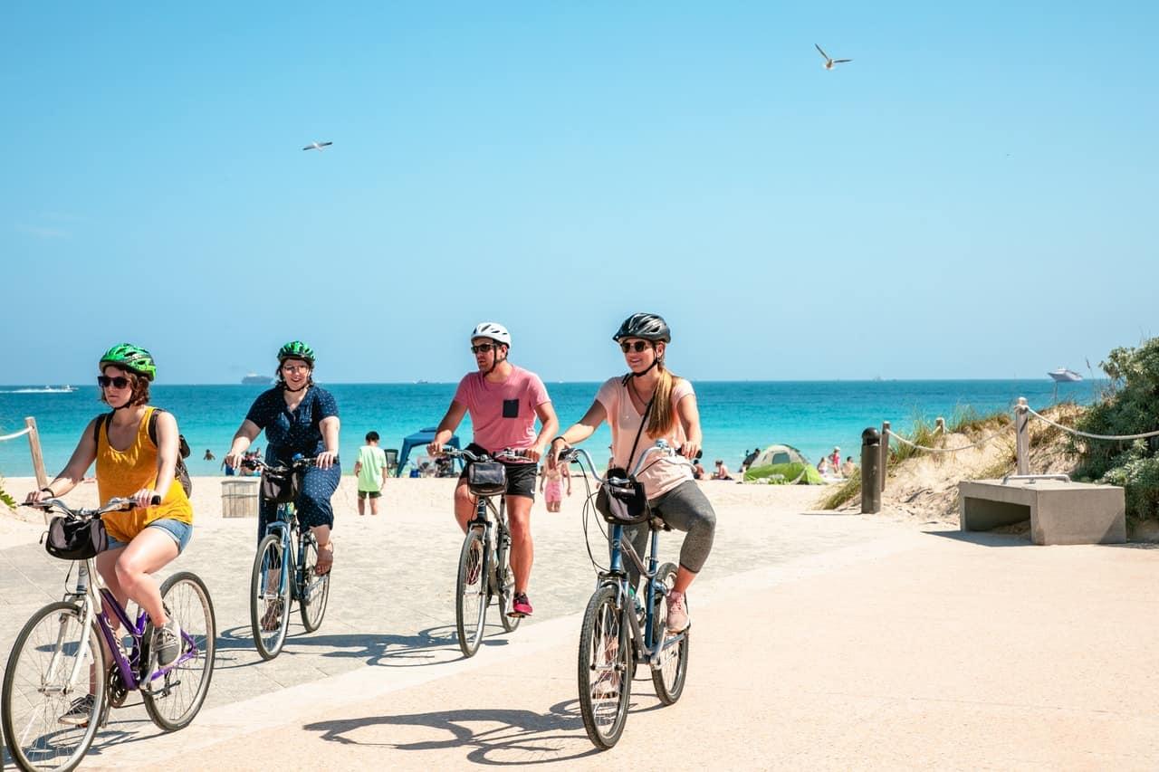 schwinn beach cruiser bikes for a ride on the coast