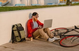 boy with laptop backpacks for biking